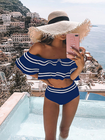 Blue Off Shoulder Ruffle Trim Bikini Set