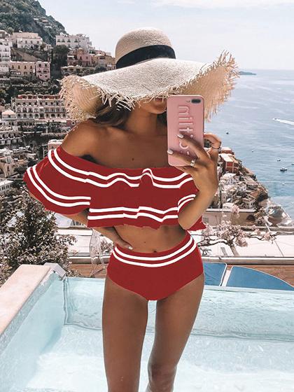 Red Off Shoulder Ruffle Trim Bikini Set