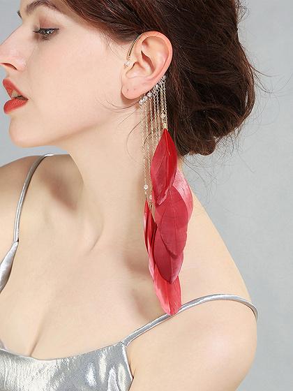 Red Alloy Tassel Feather Chic Women Earrings