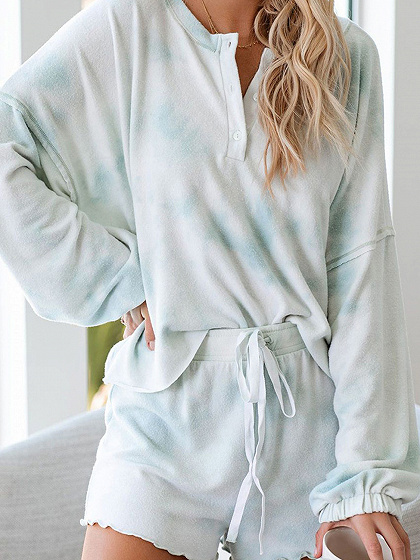 Light Blue Long Sleeve Top And Shorts