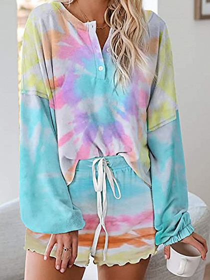 Multicolor Floral Print Long Sleeve Top And Shorts
