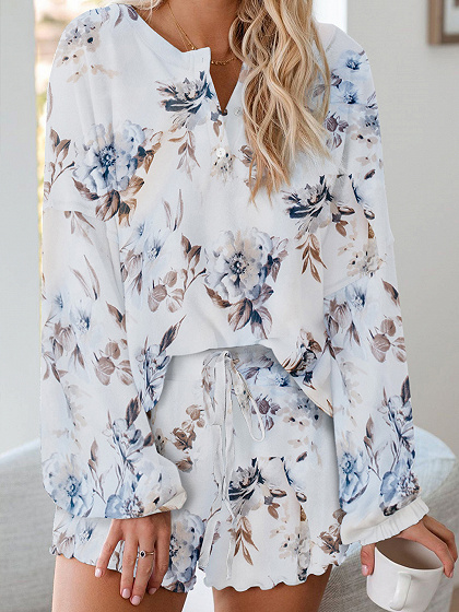 White Floral Print Long Sleeve Top And Shorts