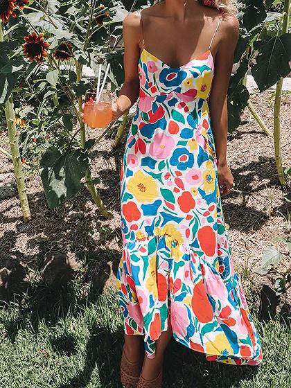 Polychrome V-neck Floral Print Cami Maxi Dress