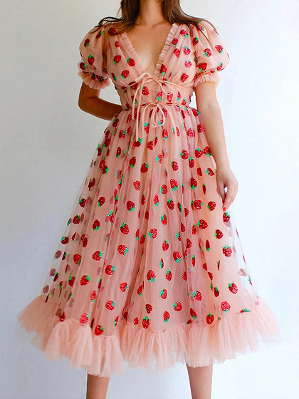 Pink Plunge Strawberry Print Puff Sleeve Maxi Dress