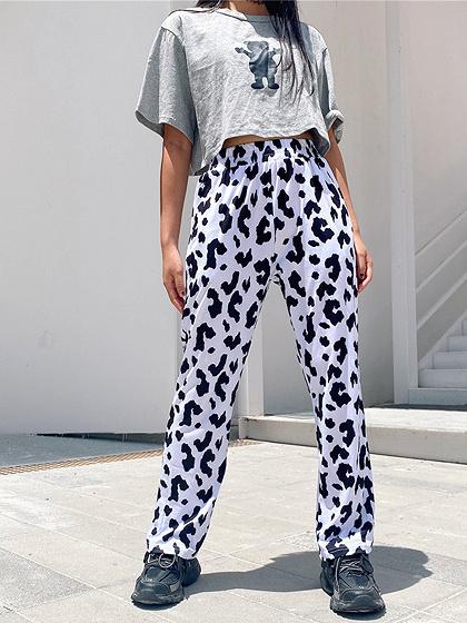White High Waist Milk Print Pants