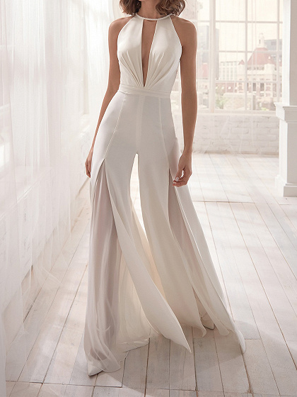 White Halter Plunge Open Back Jumpsuit