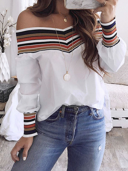 White Knit Panel Long Sleeve Blouse