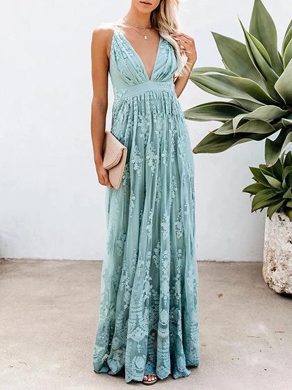 Light Blue Plunge Open Back Cami Maxi Dress