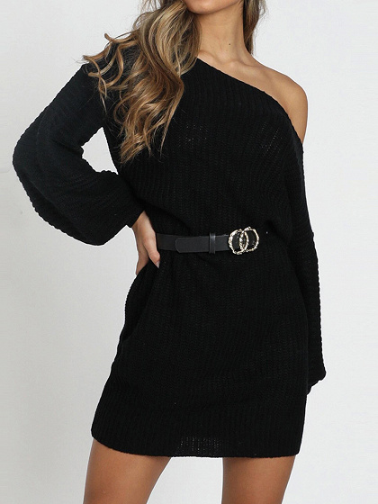 Black Cold Shoulder Puff Sleeve Mini Dress