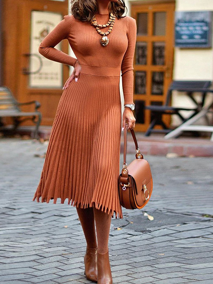 Brown Pleated Detail Long Sleeve Midi Dress