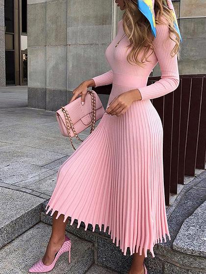 Pink Pleated Detail Long Sleeve Midi Dress
