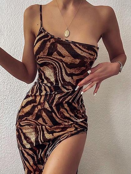 Khaki One Shoulder Tiger Print Cami Maxi Dress