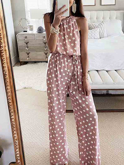 Pink Polka Dot Print Sleeveless Jumpsuit