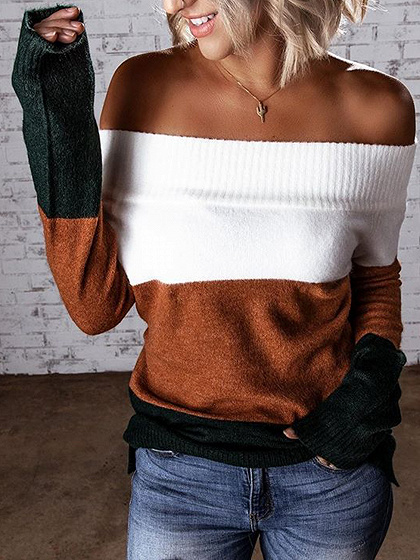 Brown Contrast Off Shoulder Long Sleeve Sweater