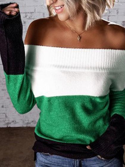 Green Contrast Off Shoulder Long Sleeve Sweater