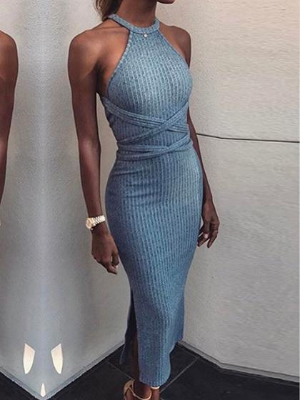 Blue Ribbed Halter Open Back Maxi Dress