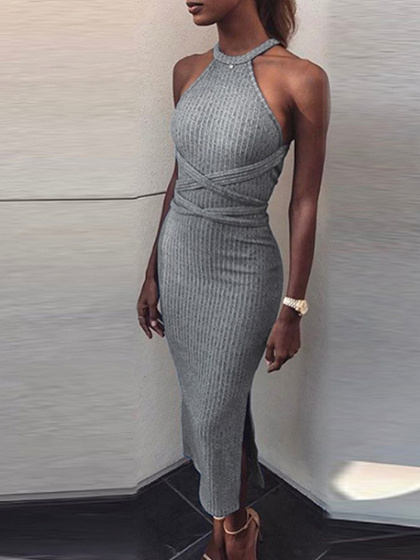Gray Ribbed Halter Open Back Maxi Dress