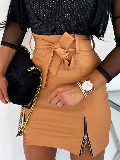Khaki High Waist Mini Skirt