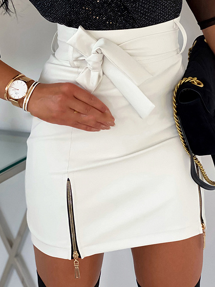 White High Waist Mini Skirt