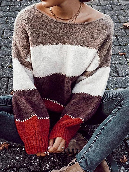 Burgundy Contrast Long Sleeve Sweater