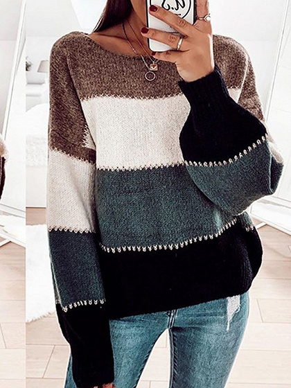 Black Contrast Long Sleeve Sweater