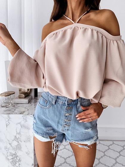 Pink Halter One Shoulder Long Sleeve Blouse