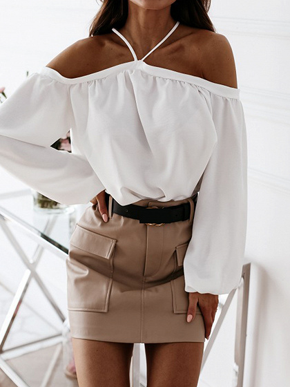 White Halter One Shoulder Long Sleeve Blouse