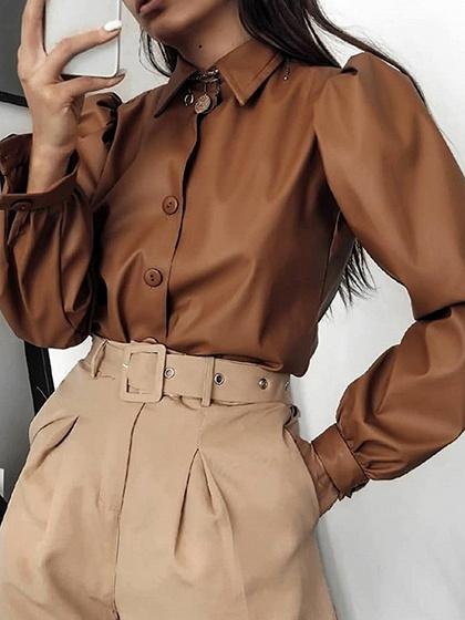 Brown Puff Sleeve Shirt