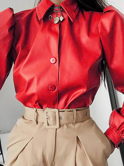 Red Puff Sleeve Shirt