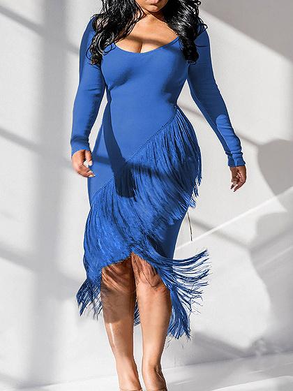 Blue Long Sleeve Bodycon Midi Dress