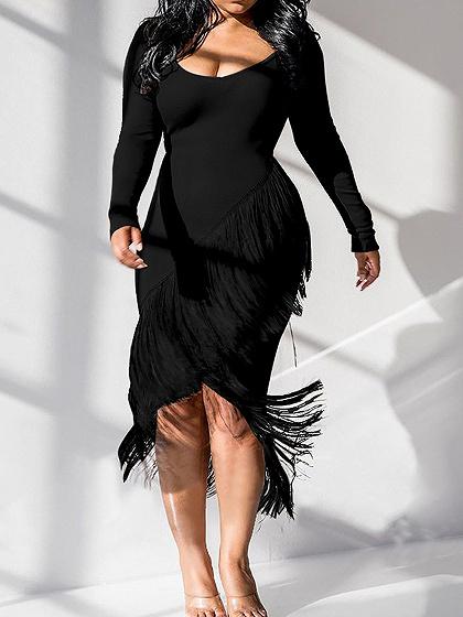 Black Long Sleeve Bodycon Midi Dress