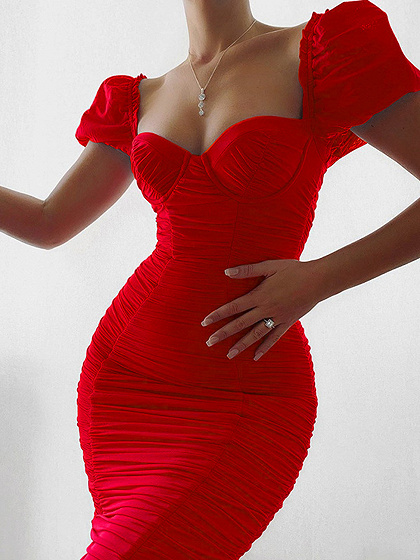 Red Ruched Detail Split Back Bodycon Dress