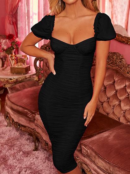 Black Ruched Detail Split Back Bodycon Dress
