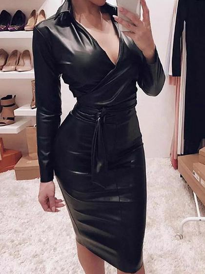 Black PU V-neck Long Sleeve Bodycon Dress