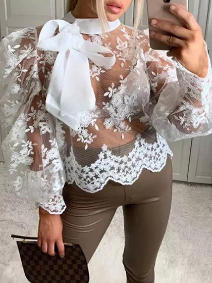 White Sheer Mesh Puff Sleeve Blouse