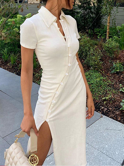 Beige Split Side Midi Dress
