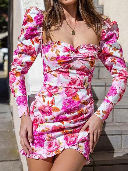 Pink Floral Print Long Sleeve Mini Dress