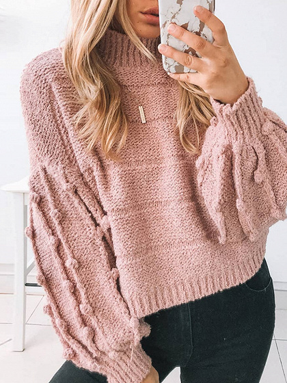 Pink Puff Sleeve Sweater
