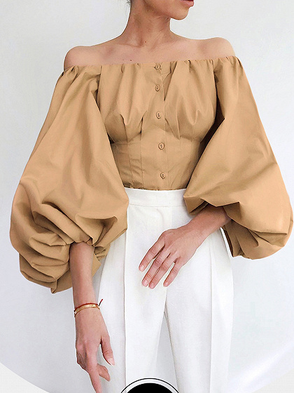 Khaki Off Shoulder Puff Sleeve Shirt