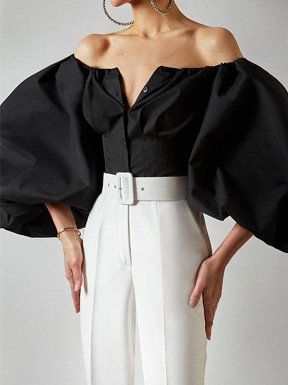Black Off Shoulder Puff Sleeve Shirt