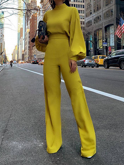 Yellow High Neck Long Sleeve Jumpsuit