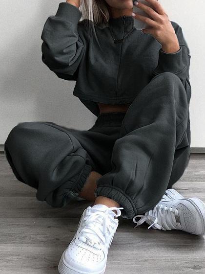 Gray High Waist Pants