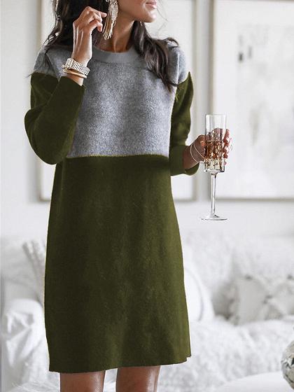 Green Contrast Long Sleeve Mini Dress