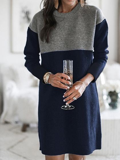 Blue Contrast Long Sleeve Mini Dress