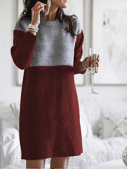 Burgundy Contrast Long Sleeve Mini Dress