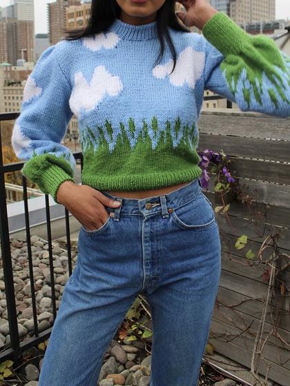 Blue Cloud Print Long Sleeve Crop Sweater