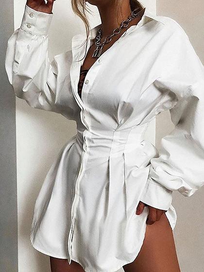 White Narrow Waist Long Sleeve Shirt