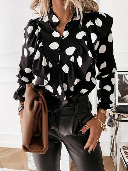Black Polka Dot Print Ruffle Trim Long Sleeve Shirt