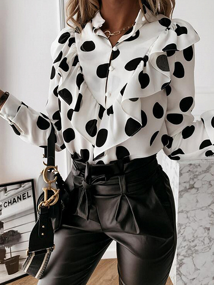 White Polka Dot Print Ruffle Trim Long Sleeve Shirt
