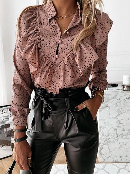 Dark Pink Floral Print Ruffle Trim Long Sleeve Shirt